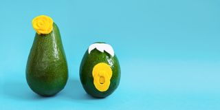 Minimal original avocado concept for party invitations and holidays greeting cards stock image