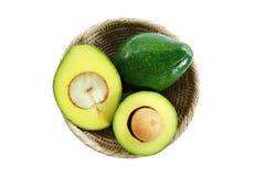 Fresh avocado fruits on white background. royalty free stock photography