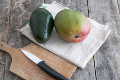 Fresh avocado and mango fruit Royalty Free Stock Photo