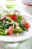 Fresh Avocado Salad with grapes, arugula, blu cheese and sesame Stock Image