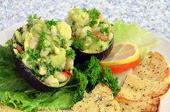 Fresh Avocado Seafood Salad Stock Images