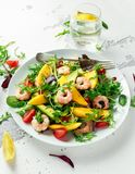 Fresh Avocado, Shrimps, Mango salad with lettuce green mix, cherry tomatoes, herbs and olive oil, lemon dressing. Healthy food stock image