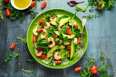 Fresh Avocado, shrimps salad with lettuce green mix, cherry tomatoes, herbs and olive oil, lemon dressing. healthy food.  royalty free stock photo