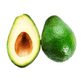 Fresh Avocado slice and whole ripe green avocado fruit isolated Royalty Free Stock Photo