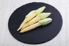 Fresh baby corn. Heap on the wood background Stock Image