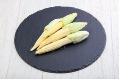 Fresh baby corn. Heap on the wood background Royalty Free Stock Image