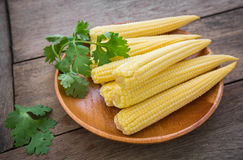 Fresh baby corn on wooden plate Royalty Free Stock Photos