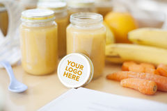 Fresh baby food and copyspace Royalty Free Stock Photo