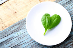 Fresh Baby spinach heart shape leaf on white plate, blue wooden background. Top view with copy space. Love, Healthy. Ecology concept, horizontal Royalty Free Stock Images