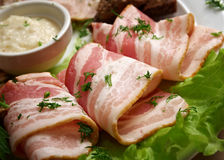 Fresh bacon rolls. Shallow depth-of-field Royalty Free Stock Image