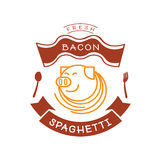 Fresh bacon spaghetti logo with pig and noodle illustration Stock Image