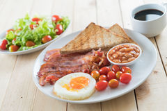 Fresh bacon on wood. Table Royalty Free Stock Images