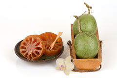 Fresh bael and candy bael, fruit of Thailand. Royalty Free Stock Photo