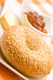 Fresh bagel with jam Royalty Free Stock Photos