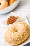 Fresh bagel with jam Stock Images