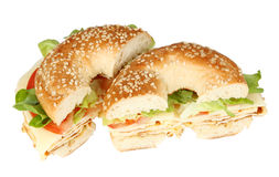 Fresh bagel sandwich stock photography