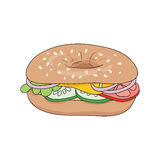 Fresh bagel sandwich with cheese and vegetables. Vector illustration. Royalty Free Stock Photo