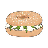 Fresh bagel sandwich with cream cheese and rucola. Sesame seeds on top. Vector illustration. Royalty Free Stock Image