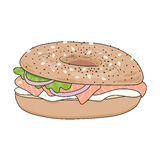 Fresh bagel sandwich with cream cheese and salmon. Poppy seeds and sesame on top.  Vector illustration. Stock Photo