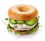 Fresh bagel sandwich Stock Photos