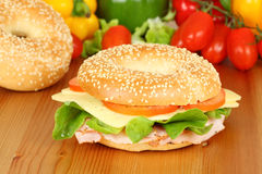Fresh bagel with turkey breast Royalty Free Stock Image
