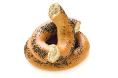 Fresh bagels with poppy seeds. Royalty Free Stock Photo
