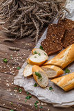 Fresh baguette, bread with seeds Royalty Free Stock Photos