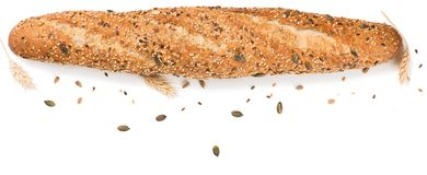 Fresh baguette with cereals, top view. Royalty Free Stock Photos