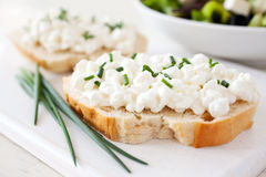 Fresh baguette with curd. And chives Royalty Free Stock Photo