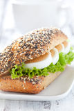Fresh baguette with egg stock photography