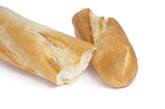 Fresh baguette, halved Royalty Free Stock Photography