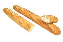 Fresh baguette isaolated on white background Royalty Free Stock Photos