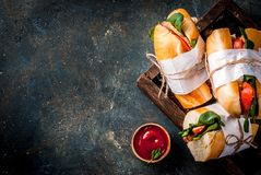 Fresh baguette sandwiches royalty free stock photo