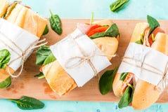 Fresh baguette sandwiches stock photo