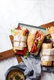Fresh baguette sandwich bahn-mi styled Royalty Free Stock Photography