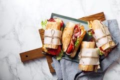 Fresh baguette sandwich bahn-mi styled Royalty Free Stock Image