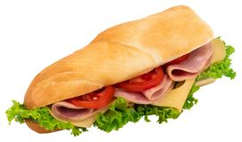Fresh baguette sandwich with ham, cheese, tomatoes, and lettuce. Isolated on white background stock photography