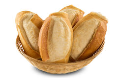 Fresh baguette on white background. Royalty Free Stock Photography