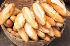 Fresh baguettes on farmers market Stock Images