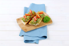 Fresh baguettes with guacamole Royalty Free Stock Images