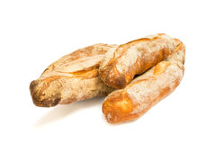Fresh baguettes isolated on white background Royalty Free Stock Images