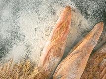 Fresh baguettes on the table sprinkled with flour. Royalty Free Stock Image