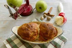 Fresh baked apple dumplings with scoop of ice cream Royalty Free Stock Images