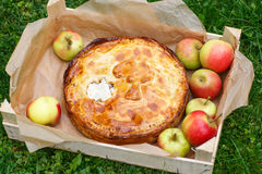 Fresh baked apple pie and apples. Royalty Free Stock Photography