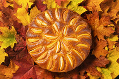 Fresh baked apple pie and autumn leaves Stock Image