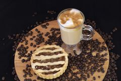 Fresh baked apple pie and hot chocolate stock photos
