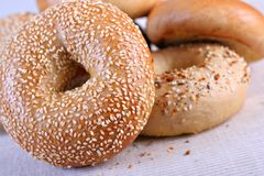 Fresh Baked Bagels Close-up Stock Photo