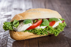 Fresh baked Baguette with Mozzarella Royalty Free Stock Photo