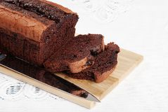 Fresh baked belgium chocolate cake loaf Royalty Free Stock Photos