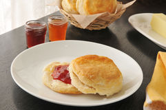 Fresh baked biscuit with jam Stock Image